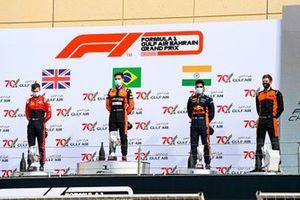 Callum Ilott, UNI-Virtuosi, Race Winner Felipe Drugovich, MP Motorsport and Jehan Daruvala, Carlin on the podium