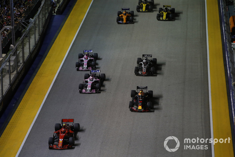 Kimi Raikkonen, Ferrari SF71H, Daniel Ricciardo, Red Bull Racing RB14, Sergio Perez, Racing Point Force India VJM11, Esteban Ocon, Racing Point Force India VJM11, Romain Grosjean, Haas F1 Team VF-18, Fernando Alonso, McLaren MCL33, Carlos Sainz Jr., Renault Sport F1 Team R.S. 18, and Nico Hulkenberg, Renault Sport F1 Team R.S. 18.