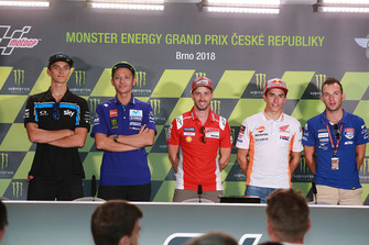 Luca Marini, Sky Racing Team VR46, pole sitter Andrea Dovizioso, Ducati Team, second place Valentino Rossi, Yamaha Factory Racing, third place Marc Marquez, Repsol Honda Team, Jakub Kornfeil