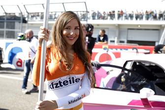 Grid girl of #26 BWT Mücke Motorsport Audi R8 LMS: Jeffrey Schmidt, Stefan Mücke