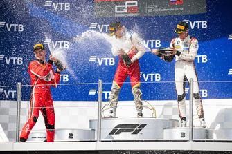 Podium: race winner Leonardo Pulcini, Campos Racing, second place Nikita Mazepin, ART Grand Prix, third place Anthoine Hubert, ART Grand Prix