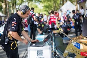 An engineer works on Jean-Eric Vergne's, DS TECHEETAH, DS E-Tense FE19 on the grid