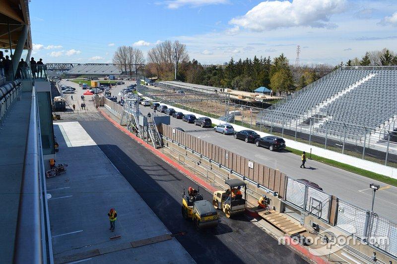 Boxengasse am Circuit Gilles Villeneuve in Montreal