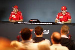 Sebastian Vettel, Ferrari e Charles Leclerc, Ferrari alla conferenza stampa