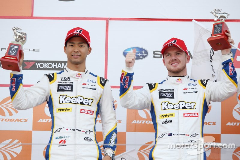 Podium: second place #37 TOM'S LC500: Nick Cassidy, Ryo Hirakawa