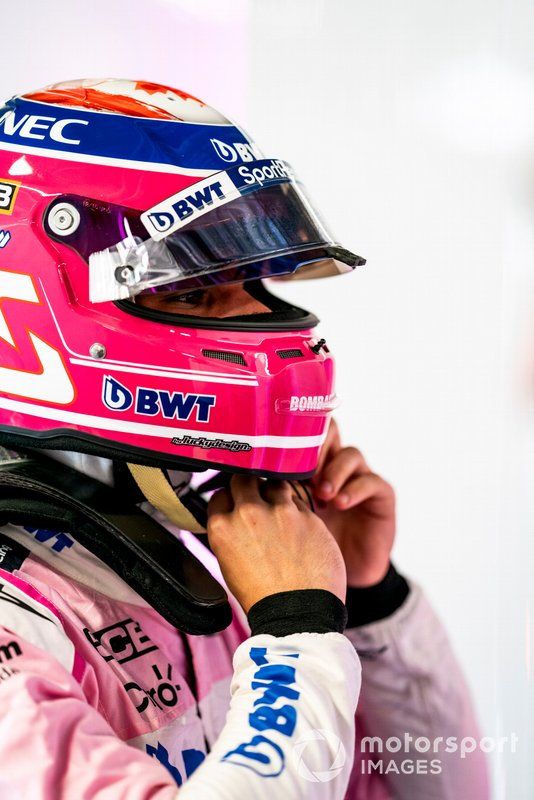 Lance Stroll, Racing Point, pits his helmet on