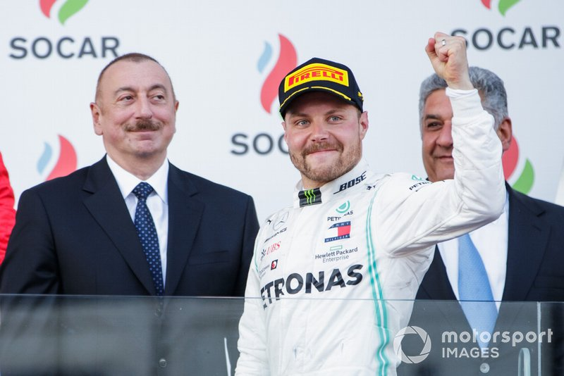 Valtteri Bottas, Mercedes AMG F1, 1st position, arrives on the podium