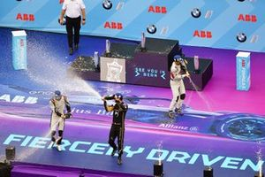 Lucas Di Grassi, Audi Sport ABT Schaeffler, celebrates on the podium with Sébastien Buemi, Nissan e.Dams, Jean-Eric Vergne, DS TECHEETAH