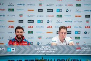 Jérôme d'Ambrosio, Mahindra Racing, Stoffel Vandoorne, HWA Racelab, lors de la conférence de presse