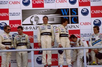 Podium winners: 1st: Jean-Louis Schlesser, Mauro Baldi, Sauber Mercedes, centre; 2nd: Jochen Mass, Kenny Acheson, Sauber Mercedes; 3rd: Bob Wollek, Frank Jelinski, Joest Racing