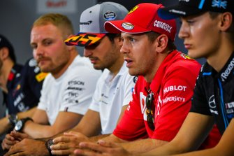 Sebastian Vettel, Ferrari, George Russell, Williams Racing, Carlos Sainz Jr., McLaren and Valtteri Bottas, Mercedes AMG F1 in Press Conference
