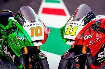 Decoración tricolor en las motos de Luca Marini, Sky Racing Team VR46 y Nicolò Bulega, Sky Racing Team VR46