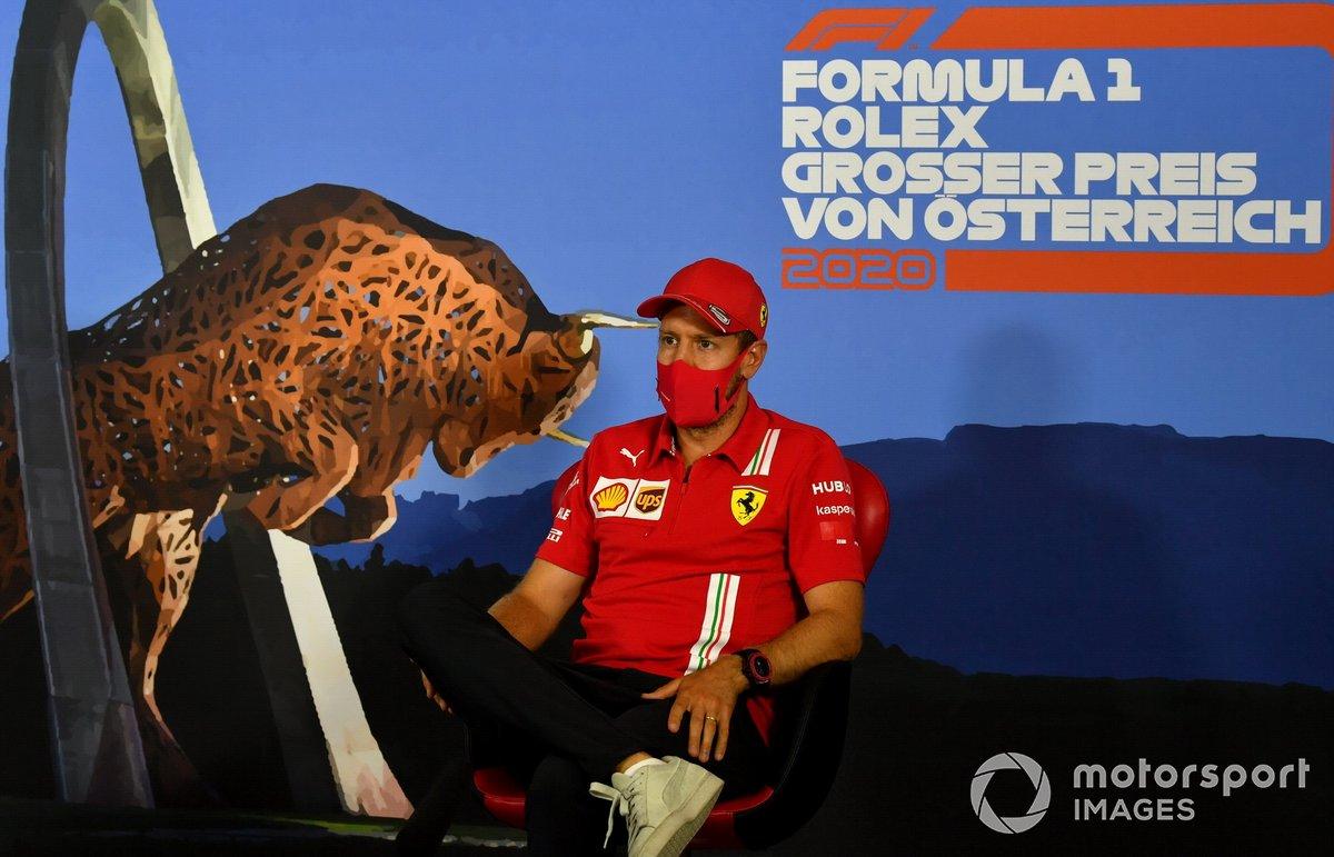 Sebastian Vettel, Ferrari durante la conferenza stampa