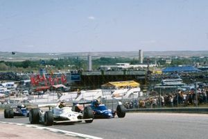 Emilio de Villota, Williams FW07 Ford, Derek Daly, Tyrrell 010 Ford, and Elio de Angelis, Lotus 81 Ford
