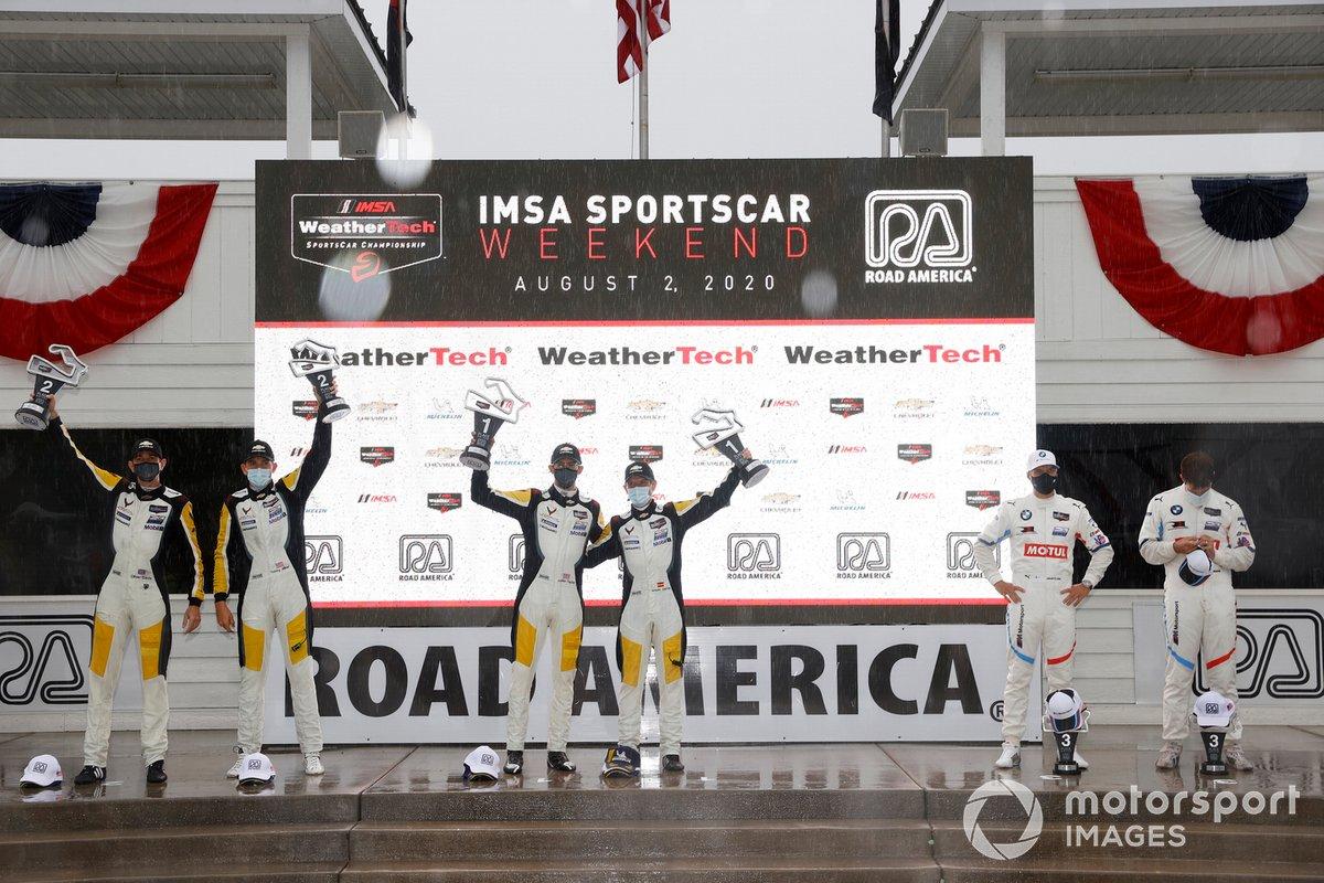 Podio: #4 Corvette Racing Corvette C8.R, GTLM: Oliver Gavin, Tommy Milner, #3 Corvette Racing Corvette C8.R, GTLM: Antonio Garcia, Jordan Taylor, #24 BMW Team RLL BMW M8 GTE, GTLM: John Edwards, Jesse Krohn