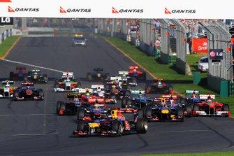 Sebastian Vettel, Red Bull Racing RB7 leads at the start of the race