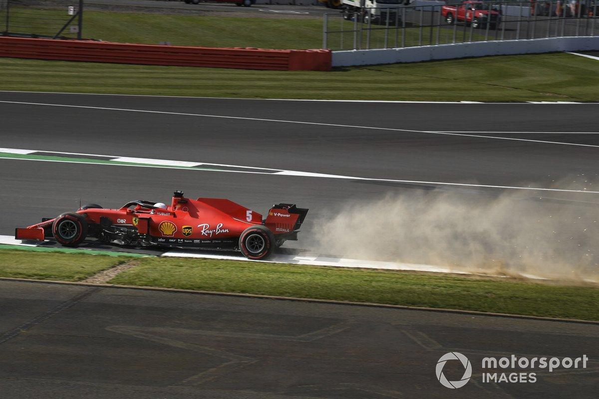 Sebastian Vettel, Ferrari SF1000, kicks up dust and sparks