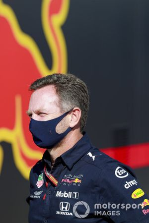 Christian Horner, Team Principal, Red Bull Racing speaks to the media