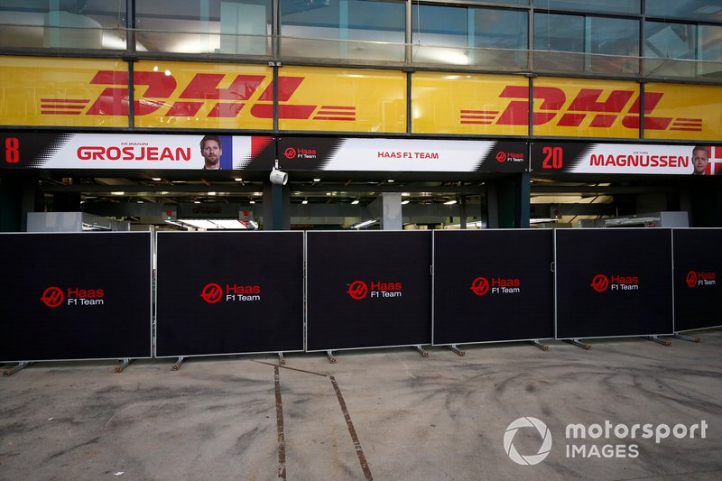 Screens in front of the Haas garages