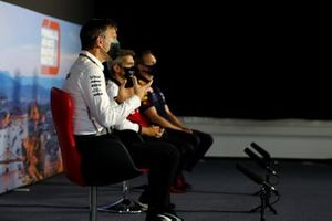James Allison, Technical Director, Mercedes AMG, Xevi Pujolar, Head of Trackside of Engineering, Alfa Romeo, and Paul Monaghan, Chief Engineer, Red Bull Racing, in the Team Principals Press Conference