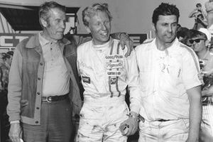 Petty Enterprises patriarch Lee Petty, Team driver Pete Hamilton and engine builder Maurice Petty celebrate in victory lane after Hamilton won the Daytona 500