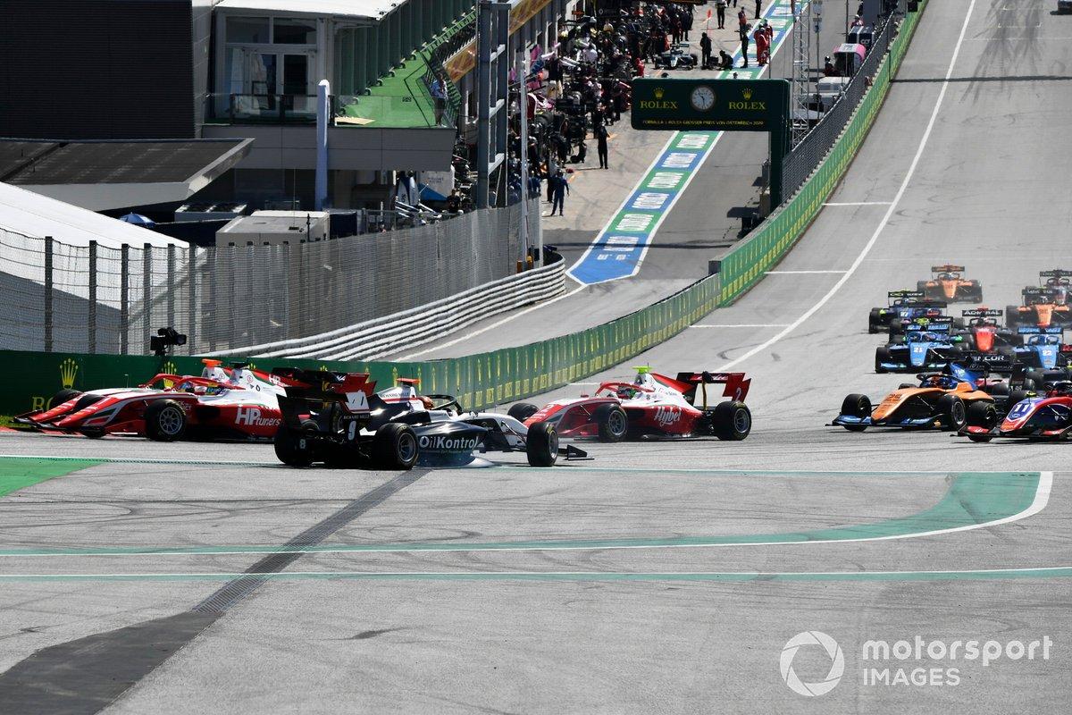 Sebastian Fernandez, ART Grand Prix fa un testacoda allinizio della gara