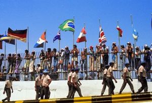 The Brazilian army keep a watching brief on the enthusiastic fans
