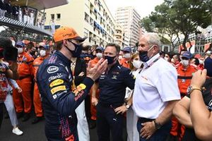 Max Verstappen, Red Bull Racing, 1st position, Christian Horner, Team Principal, Red Bull Racing, and Helmut Marko, Consultant, Red Bull Racing, celebrate