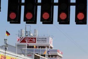 Red lights on the start gantry