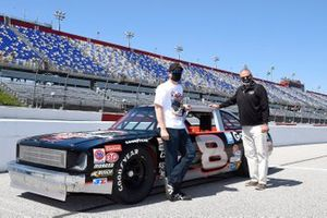 Dale Earnhardt Jr and Kerry Tharp with Dale Earnhardt's 1971 Chevy Nova