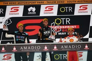 Podium: Race winner Andre Heimgartner, Kelly Grove Racing Ford, second place Chaz Mostert, Walkinshaw Andretti United Holden, third place Anton de Pasquale, Dick Johnson Racing Ford