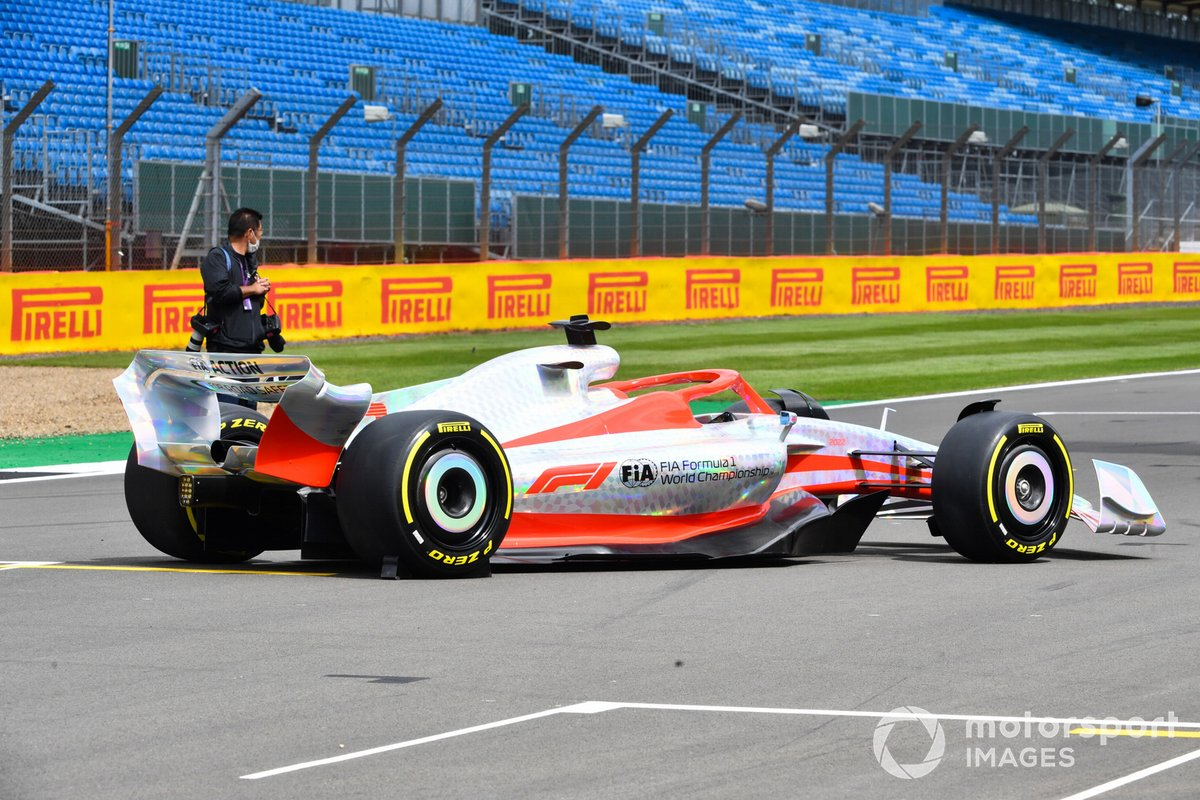 The 2022 Formula 1 car launch event on the Silverstone grid. Rear three-quarter detail