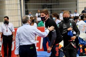 Jean Todt, President, FIA, and Max Verstappen, Red Bull Racing, on the grid
