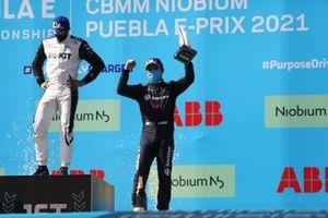 Edoardo Mortara, Venturi Racing, first position, Nick Cassidy, Envision Virgin Racing, third position, on the podium