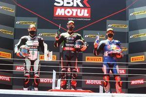 Podium: Chaz Davies, Team GoEleven, Jonathan Rea, Kawasaki Racing Team WorldSBK, Toprak Razgatlioglu, PATA Yamaha WorldSBK Team