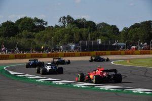 Nicholas Latifi, Williams FW43B, Yuki Tsunoda, AlphaTauri AT02, and Carlos Sainz Jr., Ferrari SF21