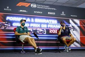 Sebastian Vettel, Aston Martin and Sergio Perez, Red Bull Racing in the Press Conference