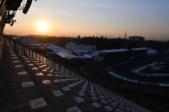 Stadium section track view at sunrise