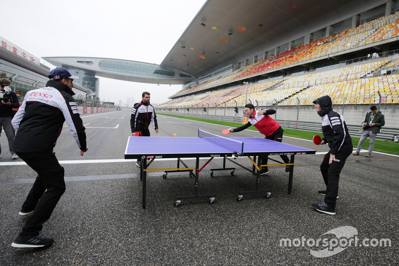 Toyota Gazoo Racing drivers play table tennis