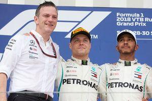 James Allison, Mercedes AMG F1 Technical Director, Valtteri Bottas, Mercedes AMG F1, Lewis Hamilton, Mercedes AMG F1 celebrate on the podium