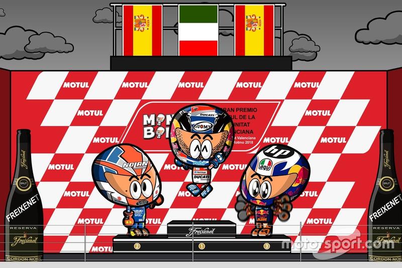 El podio del GP de Valencia de MotoGP 2018, por MiniBikers