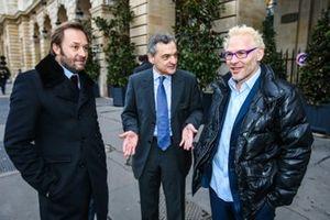 Patrick Lemarie, co-fundador de Feed racing, portrait, Serge Saulnier, Director del circuito Magny-Cours, Jacques Villeneuve, co-fundador de Feed racing