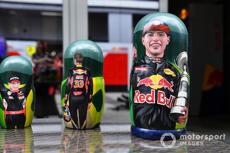Max Verstappen, Red Bull Racing on a Russian matryoshka