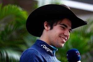 Lance Stroll, Williams Racing, is interviewed wearing a cowboy hat