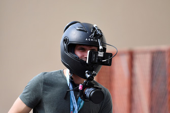 Fan with cameras on a helmet