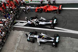 Valtteri Bottas, Mercedes AMG F1, Lewis Hamilton, Mercedes AMG F1 and Sebastian Vettel, Ferrari in parc ferme
