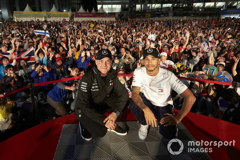 Valtteri Bottas, Mercedes AMG F1, and Lewis Hamilton, Mercedes AMG F1