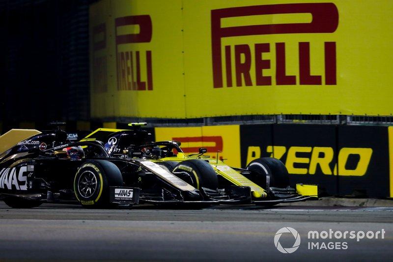 Romain Grosjean, Haas F1 Team VF-19, batalla con Nico Hulkenberg, Renault F1 Team R.S. 19