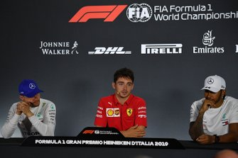 Valtteri Bottas, Mercedes AMG F1, 2nd position, Charles Leclerc, Ferrari, 1st position, and Lewis Hamilton, Mercedes AMG F1, 3rd position, in the Press Conference
