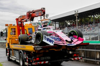 Car of Sergio Perez, Racing Point RP19 being recovered on the back of a truck